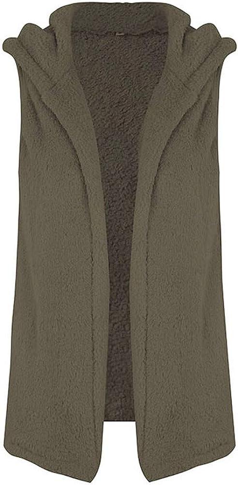 Women Vest Hooded Outerwear Fleece Sleeveless Cardigans Faux Fur Waistcoat Lightweight Open Front Vest Jacket Coat