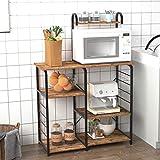 DlandHome - Supporto per forno a microonde, 89,9 cm, per cucina a 3 livelli+4 ripiani per panettieri e portaspezie, scaffale per postazione di lavoro, colore retrò