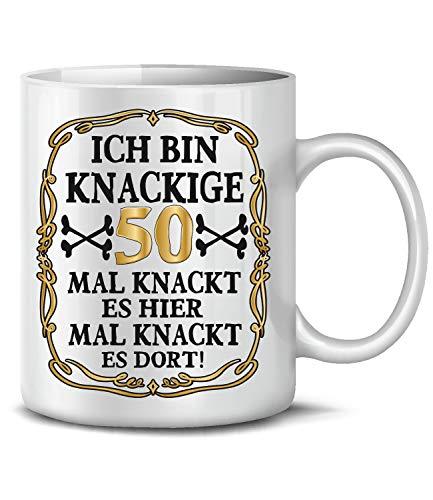 Golebros Ich Bin Knackige 50 Tasse Becher Kaffeebecher Kaffeetasse Geschenk zum Geburtstag Geburtstagsgeschenk für Frauen Männer Mann Frau geburtstagsdeko Deko Happy Birthday Artikel Ideen