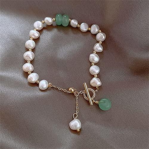 xinying Pulsera exquisitas pulseras de perlas para brazaletes femeninos, cadena de cuentas de cristal ajustable, diamantes de imitación, accesorios de joyería para fiestas, regalo (color metálico: 1)