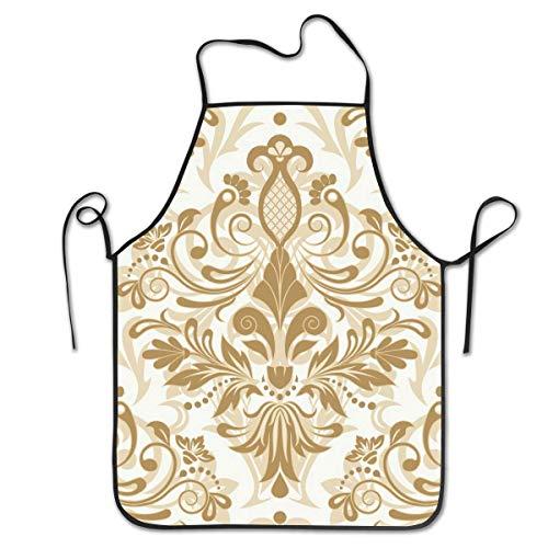 Mesllings Patrón floral sin costuras para diseño de ilustración vectorial personalizado babero delantal profesional duradero unisex adecuado para hornear cocina