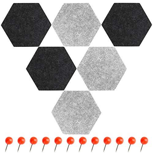SallyFashion Filz Memoboards Set, 6 Stück Filz Pinnwand Sechseckig Filzboard mit Pinnnadeln und Klebeband für Küche Büro Dekoration