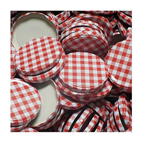 Vitrea - 50 couvercles pour bocaux - to (diamètre) 82 mm - motif carreaux rouges