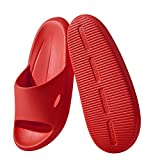 Lelayoon Shower Slippers for Women Men, Ultra Soft Slide Sandals with Arch Support, Non-slip Shower Shoes for House, Indoor, Bathroom, Bedroom, Red, Size 7