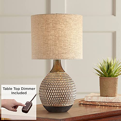 Emma Mid Century Modern Table Lamp with Table Top Dimmer Wood Brown Finish Ceramic Tan Drum Shade for Living Room Bedroom House Bedside Nightstand Home Office Entryway Family - 360 Lighting
