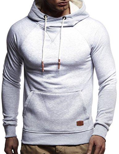 Leif Nelson Herren Pullover Hoodie mit Kapuze Moderner Sweatshirt-Pullover Langarm Sweatshirt Slim Fit LN8125 Grau Large