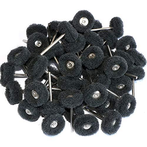 50pcs Abrasive Buffing Polishing Wheel Set For Rotary Tool with 3mm Shaft,Mini scouring pad Brush Polishing kit, removal of rust,Deburring on metal surface (grit 400 black 50pcs)