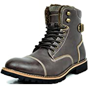 Bruno Marc Men's TORONTO-01 Dark Brown Faux Leather Military Combat Ankle Boots - 12 M US