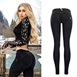 FCWJHNTSL Jeans Push up a Vita Bassa Donna Streetwear Pantaloni Skinny a Matita Femme Fashion Pantaloni in Denim Leggings Morbidi Super Elasticizzati Mujer-Black_44