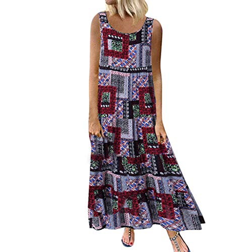 Gibobby Dresses for Women Fall Women Boho Chevron Striped Floral Printed Summer Sleeveless Tank Long Maxi Party Dress Red