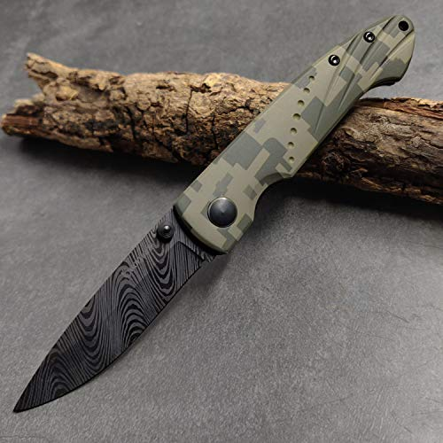 Cool Hand 2.75'' Ceramic Liner Lock Pocket Folding Knife w/ 3.75'' Aluminum Digital Camo Handle, Deep Carry Clip, 6102CA3