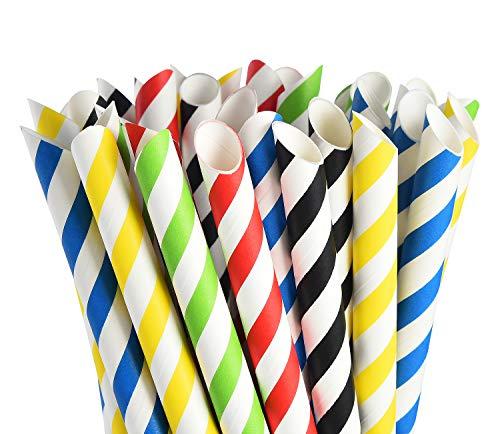 ALINK Boba Smoothie Strohhalme aus Papier, extrabreit, 12 mm, Regenbogenfarben, groß, biologisch abbaubar, Jumbo-Fettblasen-Tee/Milchshake, Party-Trinkhalme, 50 Stück