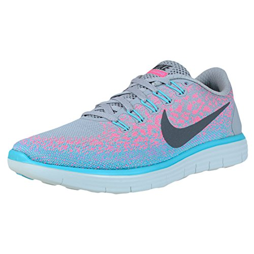Nike Womens Free Rn Distance Wolf Grey/Dark Grey/Pink Blast Running Shoe 6 Women US