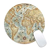 Galdas Mouse Pad Vintage World Map Print Mousepad Antique Decorate Mouse Pads Round Non Slip Gaming Mouse Pad (Updated Version)