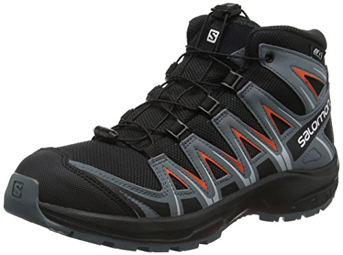 Salomon Kinder Wanderschuhe, XA PRO 3D MID CSWP J, Farbe: schwarz/orange (Black/Stormy Weather/Cherry Tomato), Größe: EU 38