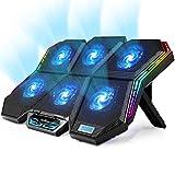 【2020年最新 強冷 超静音 冷却ファン】KEYNICE ノートパソコン 冷却パッド 冷却台 pcクーラー 冷却 静音 放熱最高 USBポート2口 無段階風量調整 7段階高さ調整 17インチまでの ノートpc/iPad/Macbook/Macbook Pro 等に対応可