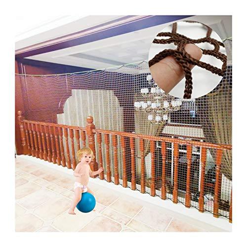 OSHA HJWMM Red de Seguridad for Niños, Retirable Red de Protección de Escalera, Malla Tejida Valla for Barandillas Cunas Parque Paredes Exteriores (Color : Brown, Size : L2XW1.5M(0.78'X0.59'))