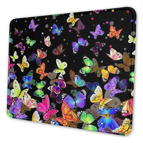 Mouse Pad Colorful Butterfly Gaming Mat Customized Non-Slip Rubber Base Stitched Edges for Office Laptop Computer