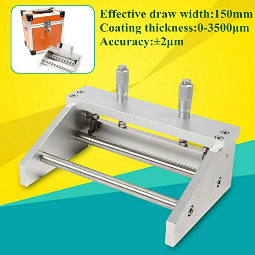Ktq-Ii Adjustable Preparer 150Mm, Film Applicator Adjustable Wet Coater Tool Preparer Precise Assessment of Thickness Nuances Wid Casting Doctor with Slurry Guiding Plate Coating Machine Micrometer