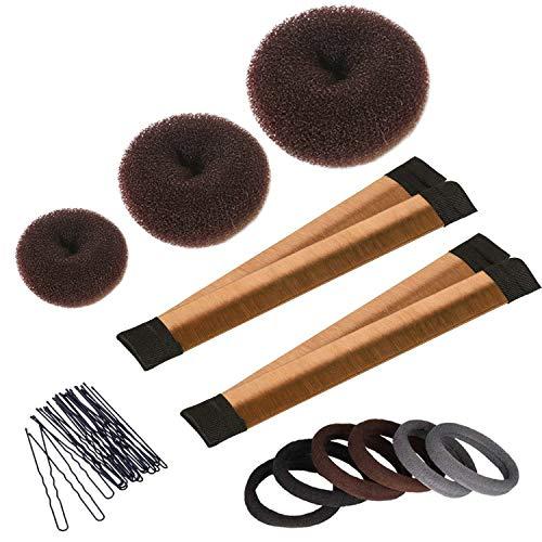 Haarknotenmacher Set 3 Stück Donut Dutt Maker, 2 Stück Instant Hair Snap Dutt-Maker, 20 Stück Hair Bobby Pins, Hair Dutt-Styling Kit für Mädchen Frauen, Braun