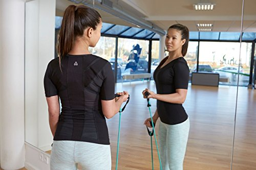 ALIGNMED Posture Shirt Pullover for Women – Moisture Wicking, Breathable, Compression & Performance Active Wear for Yoga, Fitness & Sports – Increases Upper Body Strength (Black, Medium)