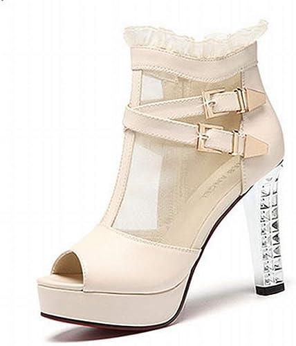 Oudan Roma con Las Sandalias el Caballero de tacón Alto de zapatos de Pescado Martin zapatos (Color   Beige, tamaño   35)