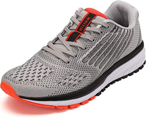 WHITIN Unisex Laufschuhe Herren Damen Hallenschuhe Turnschuhe Sneakers Männer Sportschuhe Straßenlaufschuhe Atmungsaktiv Joggingschuhe Fitness Schuhe Hellgrau Größe 43