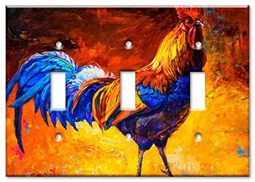 Art Plates Placa de interruptor de 3 marchas de gran tamaño/placa de pared de gran tamaño – pintura de gallo