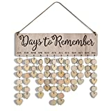 WOWOSS Wooden Family Birthday Reminder Calendar Sign Board, DIY Anniversary Tracker Plaque Wall Hanging for Home Classroom Bar Decorative