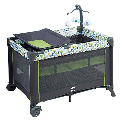 Maydolly Baby Bed 3-in-1 Portable Playard with Bassinet and Changing Table Toddler Beds Beside Playpen Infant Bed Travel Cot Grey & Grass Green