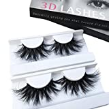 Mink Lashes 2 Pair 25mm 3D Mink Eyelahse Long Luxury 100% Siberian Mink Fur Natural Eyelashes Cruelty-Free Fluffy Fake False Eyelashes