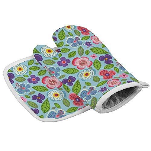Guantes de horno resistentes al calor + 1 soporte para ollas de algodón, guantes antideslizantes para cocina, hornear, barbacoa, parrilla lavable a máquina (crema Paradise City)