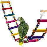 UEETEK Colorful Ladder Bird Toy,12-Step Flexible Ladders Wooden Rainbow Bridge Swings for Parrots Pet Trainning (Random Color)