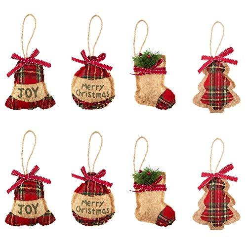 Sunbbingsp Adornos para Arbol de Navidad, 8 Pcs Adornos Colgantes Rusticos, Arbol de Navidad de Fieltro, Colgantes Navideños para Decoración de Fiesta de Vacación de Navidad