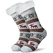 JARSEEN Damen Herren Kuschelsocken Winter Warme Socken Stoppersocken Hausschuhe Weihnachten mit ABS Rutschfest (EU 36-42, Deer Schwarz)