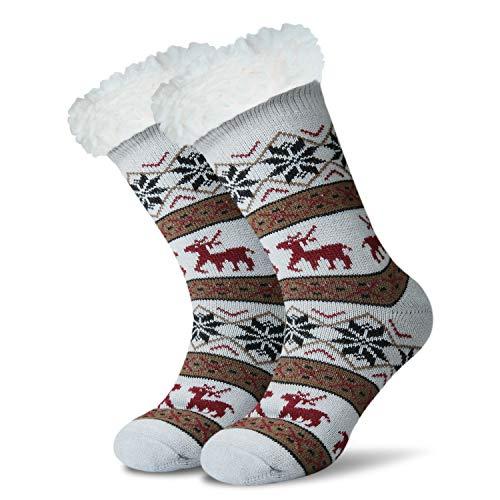 JARSEEN Mujer Hombre Navidad Calcetines Invierno Calentar Pantuflas de Estar Por Casa Super Suaves Cómodos Calcetines Antideslizante (Deer Gris, EU 36-42)