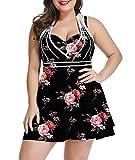 LALAGEN Womens Halter Swimdress Plus Size Two Piece Swimsuit Tankini Set Pink Floral XXL