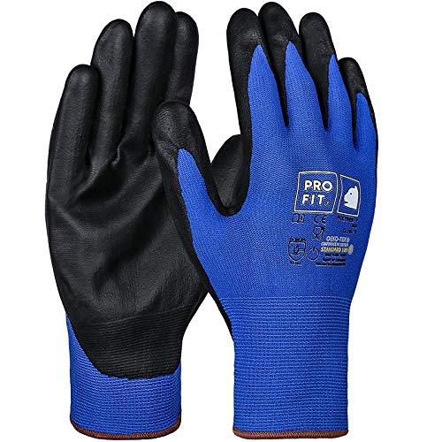 PRO FIT 12 Paar Polymer-P Handschuh, Touchscreenfähig, Lebensmittelzugelassen, blau/schwarz, Gr. 10