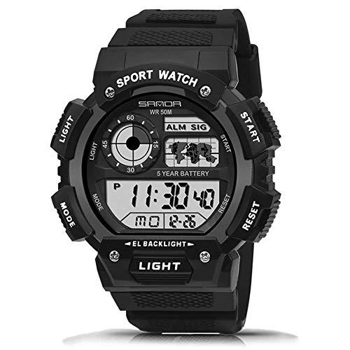 SXXYTCWL For Hombre Reloj Deportivo Digital Militar 50M Impermeable Reloj analógico Ejército Cronómetro Resistente a los Golpes de luz de Fondo LED Casual Relojes jianyou (Color : White)