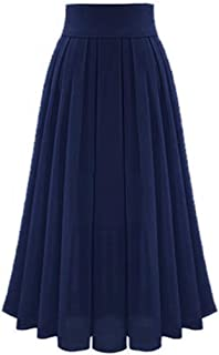Womens Solid Casual Pleated Elegant Classy Stretchy Waist Maxi Long Skirt