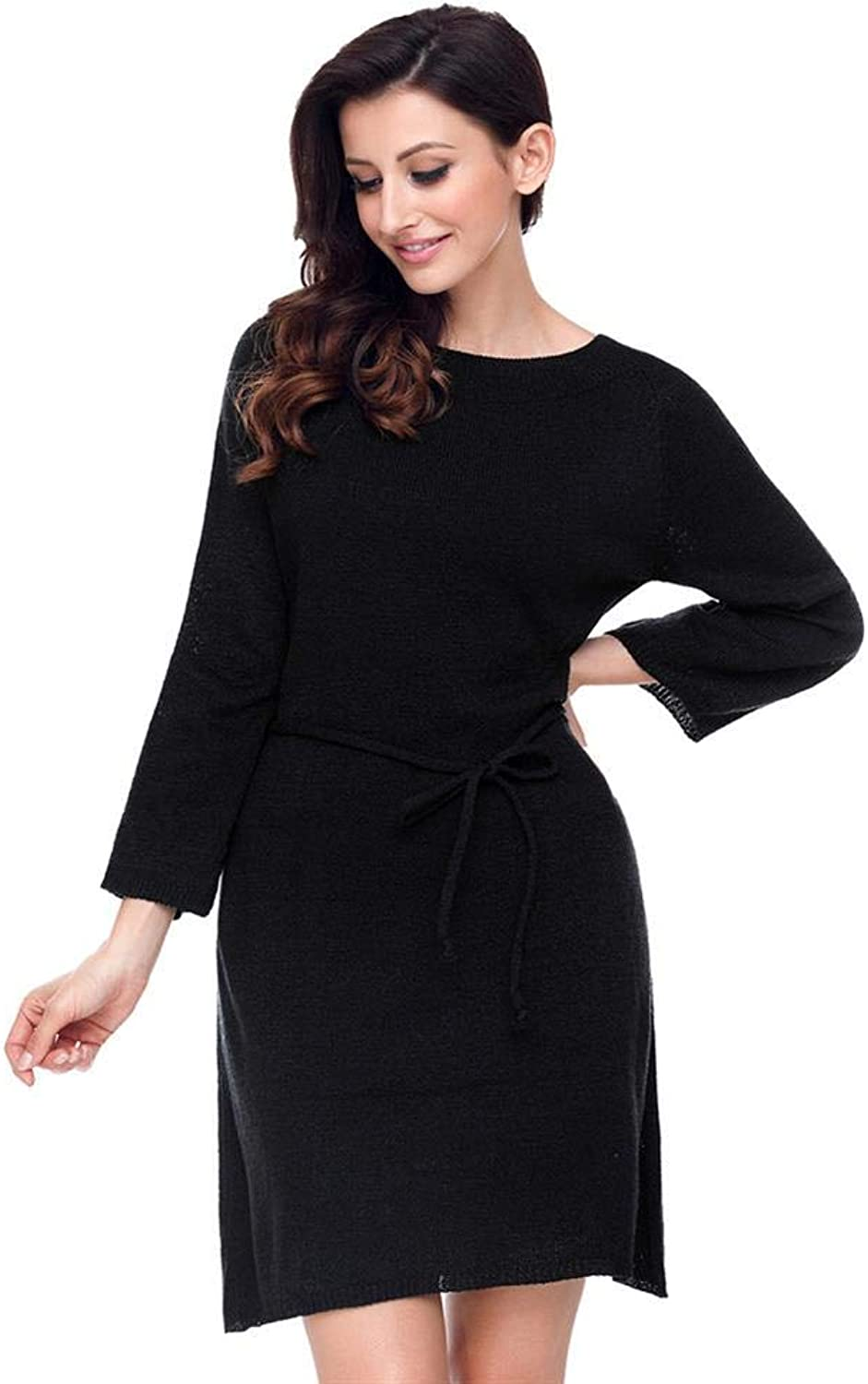 MAZF Solid color Round Neck Long Sleeve with Belt Casual Knit Sweater Female