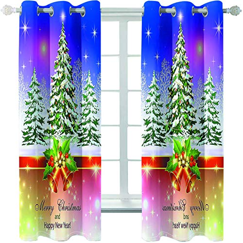 MMHJS 3D Christmas Tree Printing Curtains, Shading, Waterproof, Heat-Insulating And Warm Curtains For Bedroom And Living Room Household Items (2 Pieces)