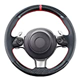 Carkooler DIY Stitching Carbon Fiber Steering Wheel Cover for Toyota 86 Coupe 2017 2018 2019 2020 2021 / for Subaru BRZ 2017-2020 15 inches Leather Interior Accessories