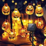 Halloween stuff,Hiquity Halloween Pumpkin String Lights Solar String Light 30 LED Outdoor Decorative Rope Lights LED Pumpkin Garland Fairy String Jack-O-Lantern for Patio, Garden, Gate, Yard
