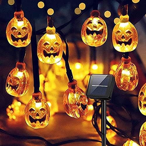 カボチャライト ledライト ソーラー充電 パンプキンライト ハロウィン 飾りライト パーティ ストリングライト 防水 ガーデン 風景装飾 屋外 室内 (30球)