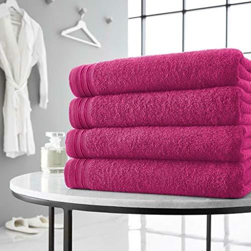 Juego de 4 toallas suaves de algodón egipcio, toallas grandes, toallas de baño, color rosa