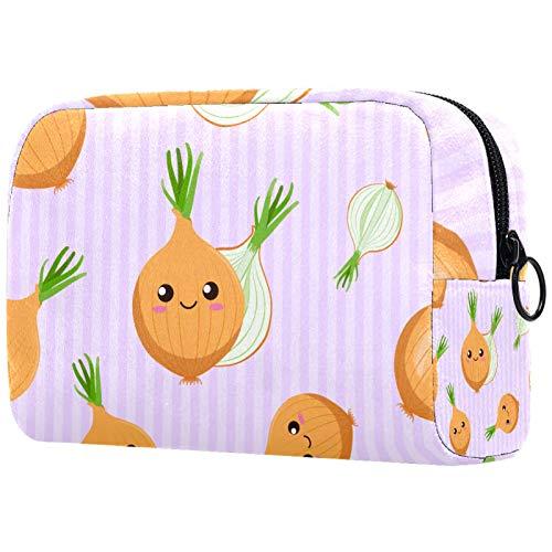 AITAI Bolsa de maquillaje grande bolsa de viaje cosmético organizador de rayas cebollas rosa