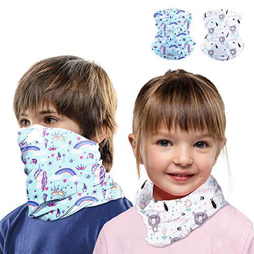 Kids Neck Gaiter Face Mask Scarf Bandanas for Hot Summer Cycling Hiking Sport Outdoor 2 pcs (Bear+Horse)