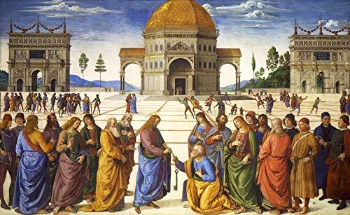 "Pietro Perugino Christ Handing the Keys to St. Peter 1481-1482 Cappella Sistina Vatican City 30"" x 19"" Fine Art Giclee Canvas Print (Unframed) Reproduction"