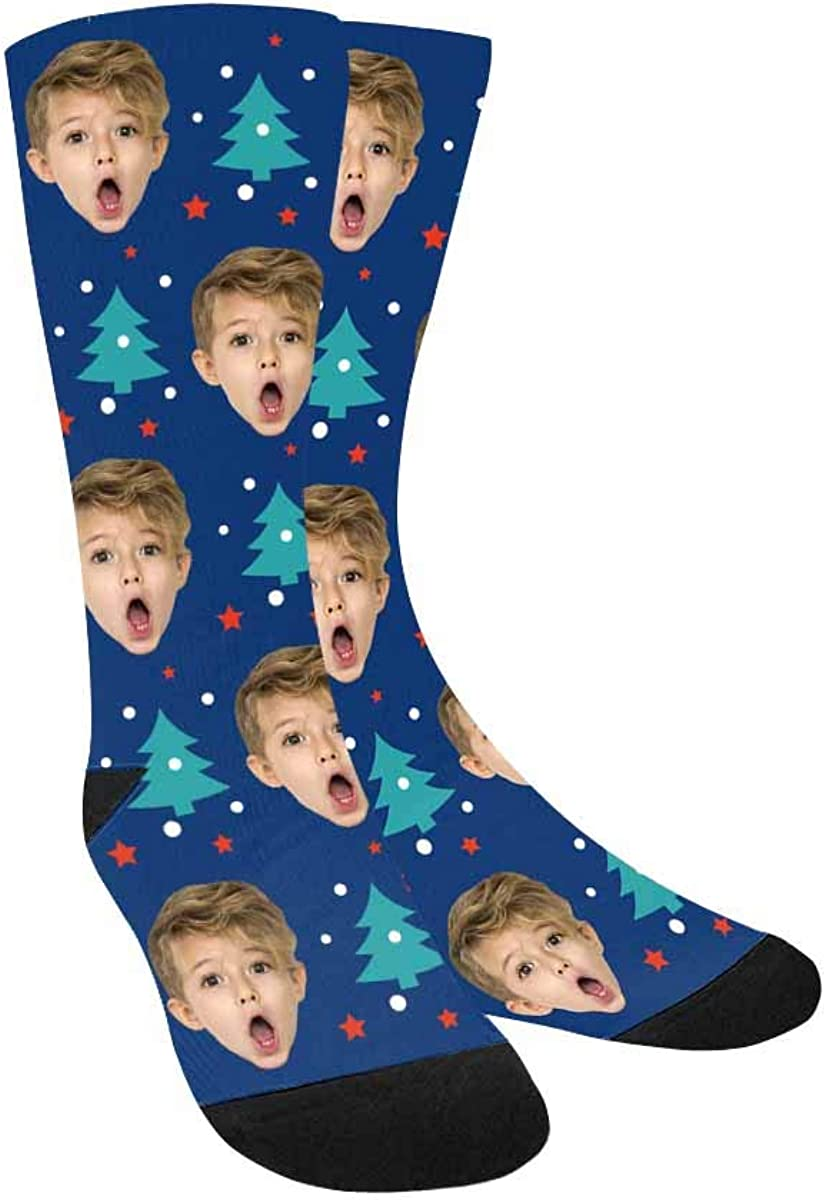Personalized Face Socks The Christmas Tree Pup Crew Socks Custom